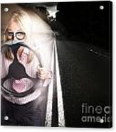 Fast Business Woman Driving Car With Light Trails Acrylic Print