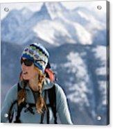 Female Backcountry Skier Skinning Acrylic Print