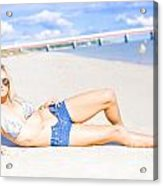 Female Vacationer Relaxing At Tropical Paradise Acrylic Print