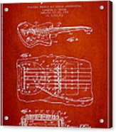 Fender Floating Tremolo Patent Drawing From 1961 - Red Acrylic Print
