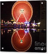 Ferris Wheel Reflections Acrylic Print by George Oze