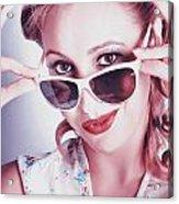 Fifties Glamor Girl Wearing Retro Pin-up Fashion Acrylic Print