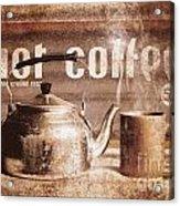 Fine Art Coffee Shop Tin Sign Insignia Acrylic Print