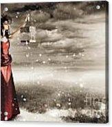Fine Art Photo Of A Beautiful Winter Fashion Woman Acrylic Print