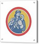 Fireman Firefighter Holding Fire Hose Retro Acrylic Print