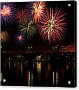 Fireworks Over The Broadway Bridge Acrylic Print by Robert Camp