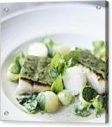 Fish Fillet With Herb Topping And Vegetables Acrylic Print