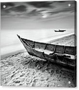 Fisherman Boat At Beach In Black And Acrylic Print