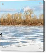 Fisherman On The Frozen River Acrylic Print