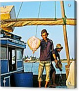 Fisherman With A Skate On Thu Bon River In Hoi An-vietnam  Acrylic Print