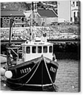 fishing boat tied up in rathlin harbour Rathlin Island northern ireland Acrylic Print