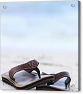 Flip-flops On Beach Acrylic Print