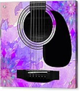 Floral Abstract Guitar 17 Acrylic Print