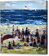 Flying A Kite At The Beach Acrylic Print