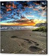 Foot Print In The Sand Acrylic Print