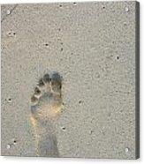 Footprint In Sand On Beach Acrylic Print by Sami Sarkis