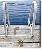 Footprints On Dock At Summer Lake Acrylic Print