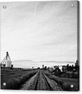 former canadian pacific railway now great sandhills railway through leader Saskatchewan Canada Acrylic Print