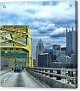 Fort Pitt Bridge And Downtown Pittsburgh Acrylic Print