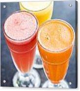 Fresh Orange Carrot And Watermelon Fruit Juice Acrylic Print