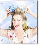 Friendly Female Pin-up Wearing Hair Accessories  Acrylic Print