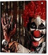 Frightening Clown Doctor Holding Amputated Hand  Acrylic Print