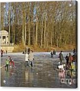Frozen Lake Krefeld Germany. Acrylic Print by David Davies