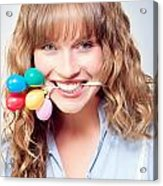 Fun Party Girl With Balloons In Mouth Acrylic Print