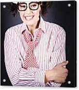 Funny Female Business Nerd With Big Geeky Smile Acrylic Print
