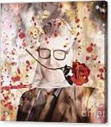 Funny Valentine Nerd Caught In Net Of Romance  Acrylic Print
