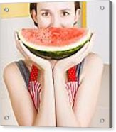 Funny Woman With Juicy Fruit Smile Acrylic Print