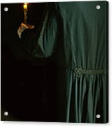 Gentleman In 18th Century Clothing With A Candle Acrylic Print by Jill Battaglia