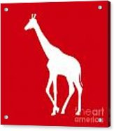 Giraffe In Red And White Acrylic Print