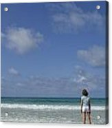Girl Contemplating Ocean From Beach Acrylic Print by Sami Sarkis