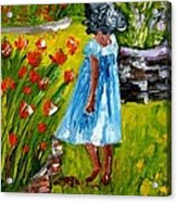 Girl In The Garden Acrylic Print