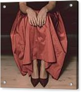 Girl On Black Sofa Acrylic Print