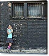 Girl Standing Next To Brick Wall Acrylic Print