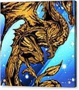 Gold Metal Dragon Acrylic Print