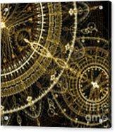 Golden Abstract Circle Fractal Acrylic Print