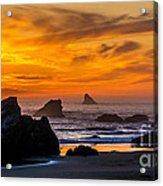 Golden Harris Beach Sunset - Oregon Acrylic Print