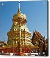 Golden Pagoda And Umbrella Wat Phrathat Doi Suthep Temple Acrylic Print
