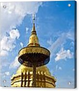 Golden Pagoda With Blue Sky At Wat Phra That Hariphunchai Acrylic Print