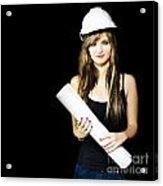 Graduate Engineer Holding Construction Design Plan Acrylic Print