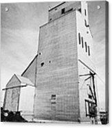 grain elevator and old train track landmark leader Saskatchewan Canada Acrylic Print
