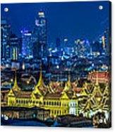 Grand Palace At Twilight In Bangkok Between Loykratong Festival Acrylic Print