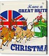 Great British Christmas Santa Reindeer Doube Decker Bus Acrylic Print by Aloysius Patrimonio