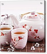 Green Tea Set Acrylic Print