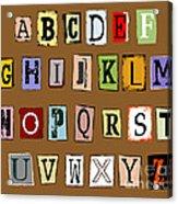 Grunge Alphabet Acrylic Print