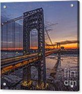 Gw Bridge Car Light Trails  Acrylic Print