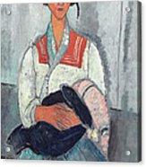 Gypsy Woman With Baby Acrylic Print by Amedeo Modigliani